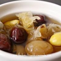 snow fungus, red date, longan and gingko (dessert) soup