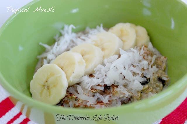tropical muesli with coconut and banana