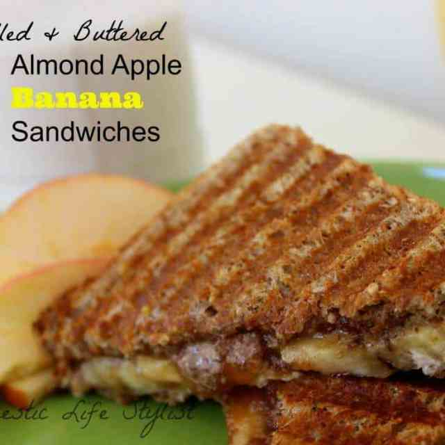 Grilled Almond & Apple Butter Banana Sandwich. Makes a tasty and wholesome after-school snack.