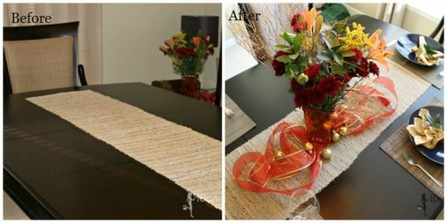 before and after holiday table