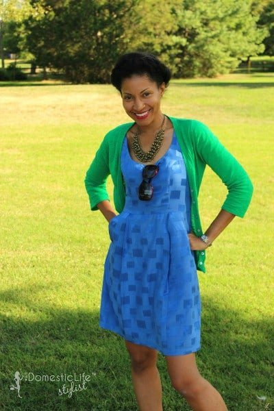 End of summer brights: Blue short dress with green cardigan