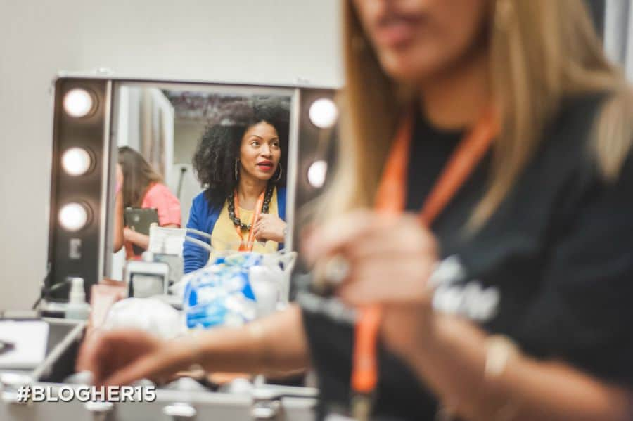 Getting Make-up done at Blogher 900x599