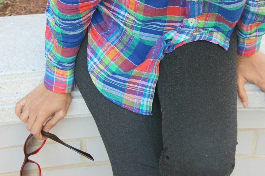 plaid shirt with gray leggings 2