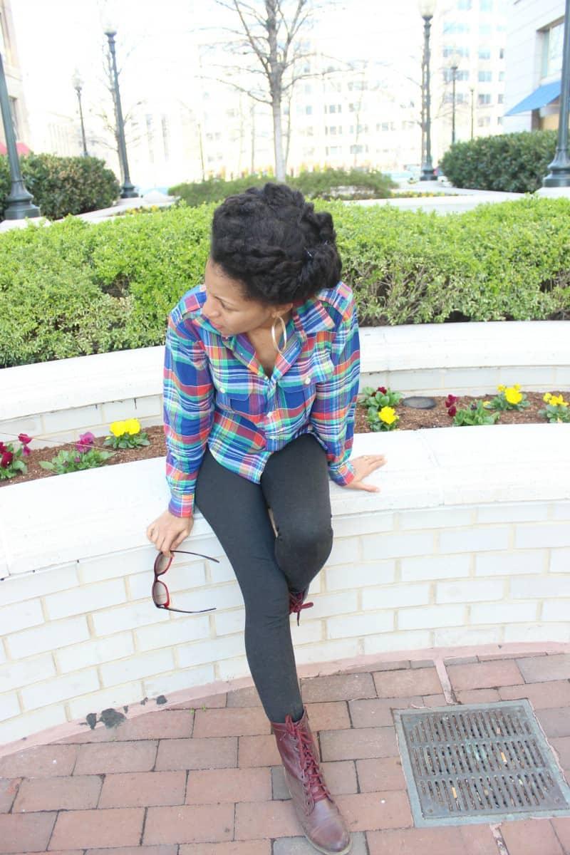 plaid shirt with gray leggings 3
