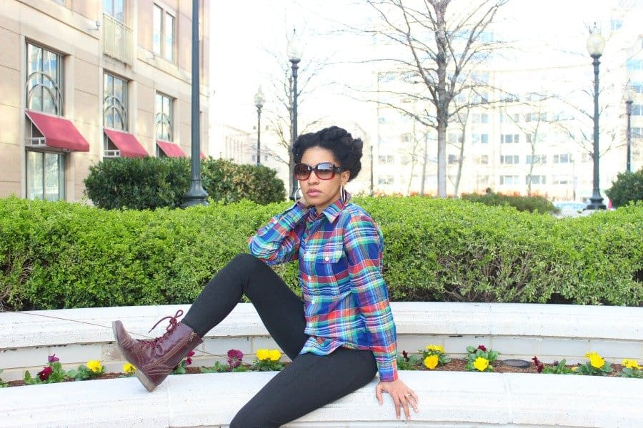 plaid shirt with gray leggings 5