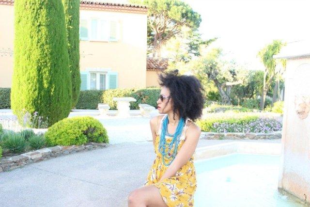mustard short sleeveless free people floral dress at chateau de la Messardiere1