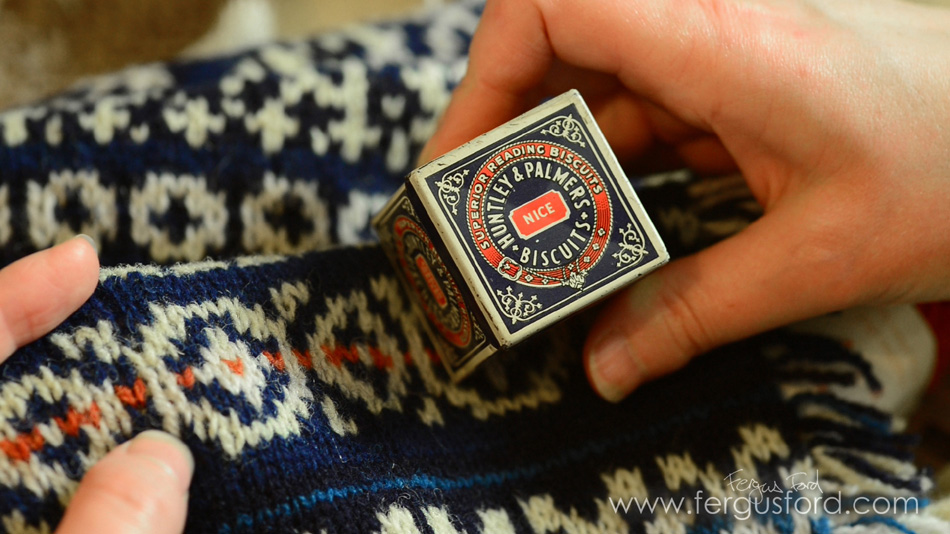 Huntley & Palmers vintage biscuit tin + knitted interpretation by Felicity Ford, image © Fergus Ford