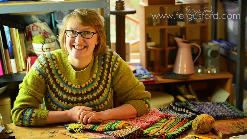 A still from the promotional film for The KNITSONIK Stranded Colourwork Sourcebook Kickstarter Campaign, © Fergus Ford