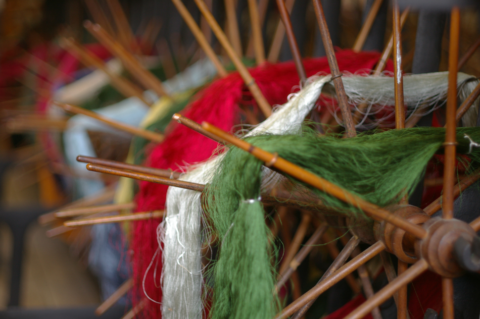 Silk skeins at Whitchurch Silk Mill, ready to be wound onto bobbins prior to weaving