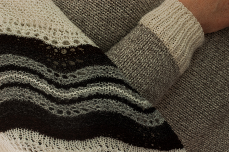 Alison's beautiful sweater and hap shawl