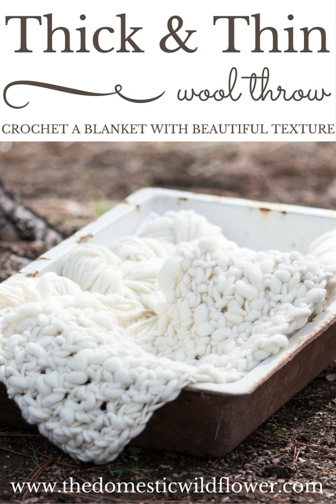 How to Crochet a Thick and Thin Giant Yarn Blanket | A Domestic Wildflower click through to read the tutorial for creating your own chunky knit or crochet blanket. This post includes a free pattern too!