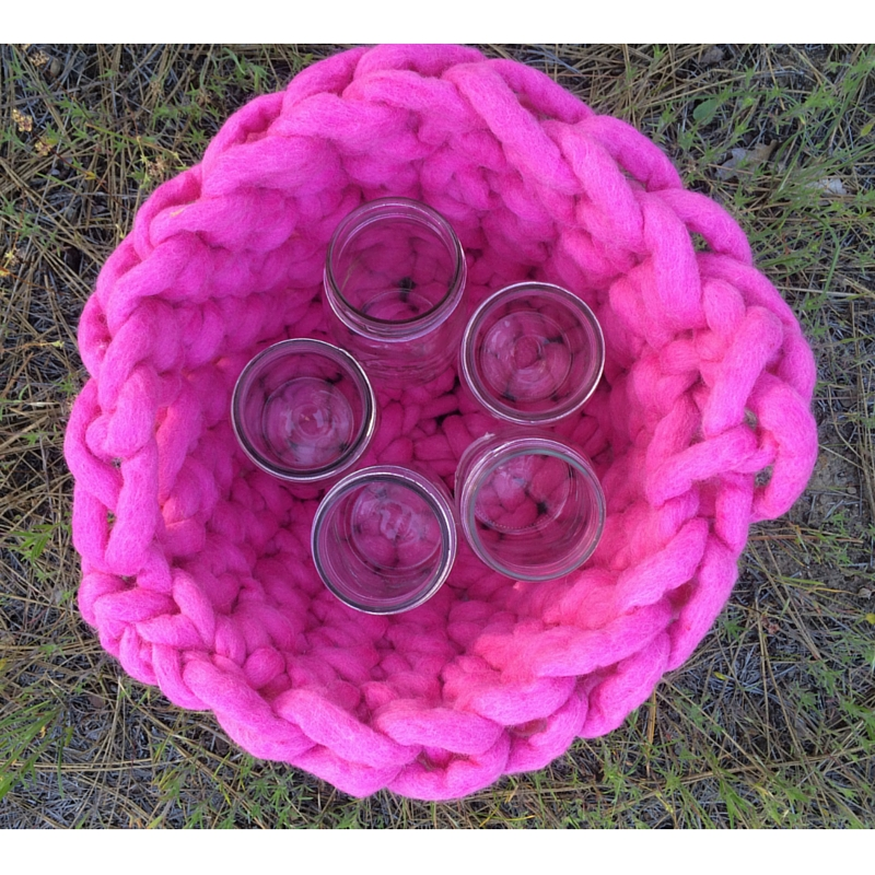 Felted Wool Basket   The Domestic Wildflower click through to read the full tutorial for how to crochet a felted wool basket in giant yarn in under 2 hours!