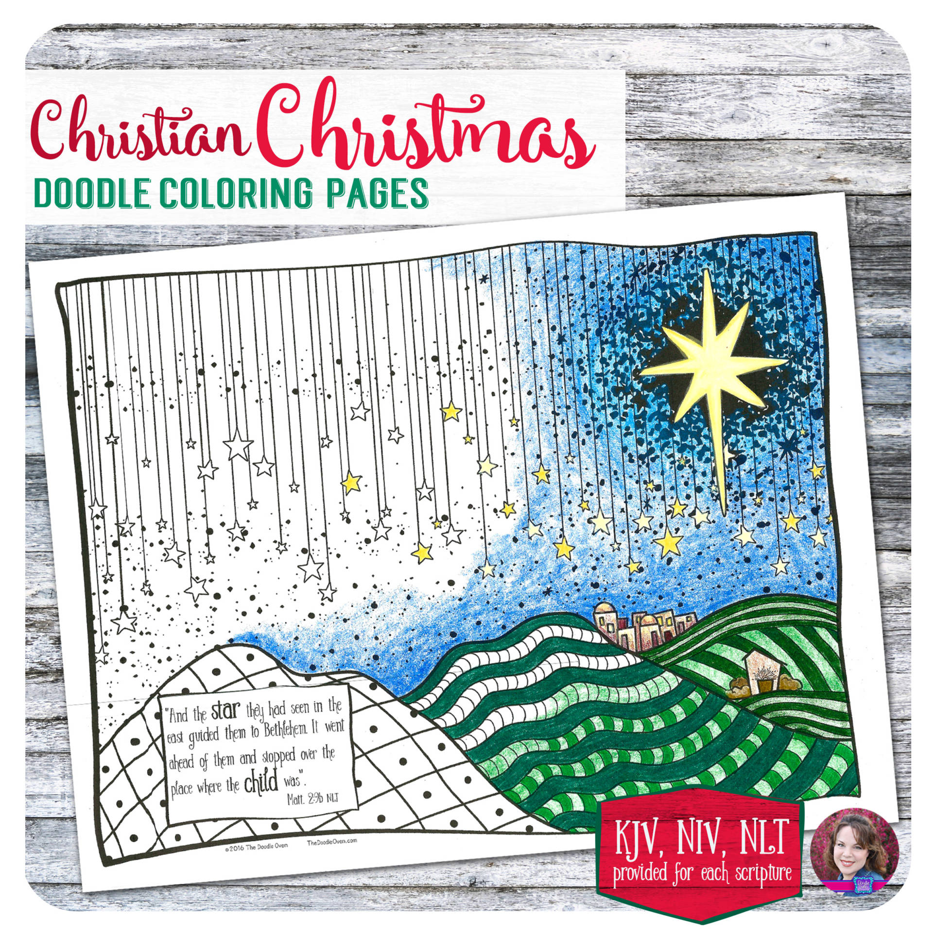 Religious Christmas Doodle Art Coloring Page Doodle Coloring
