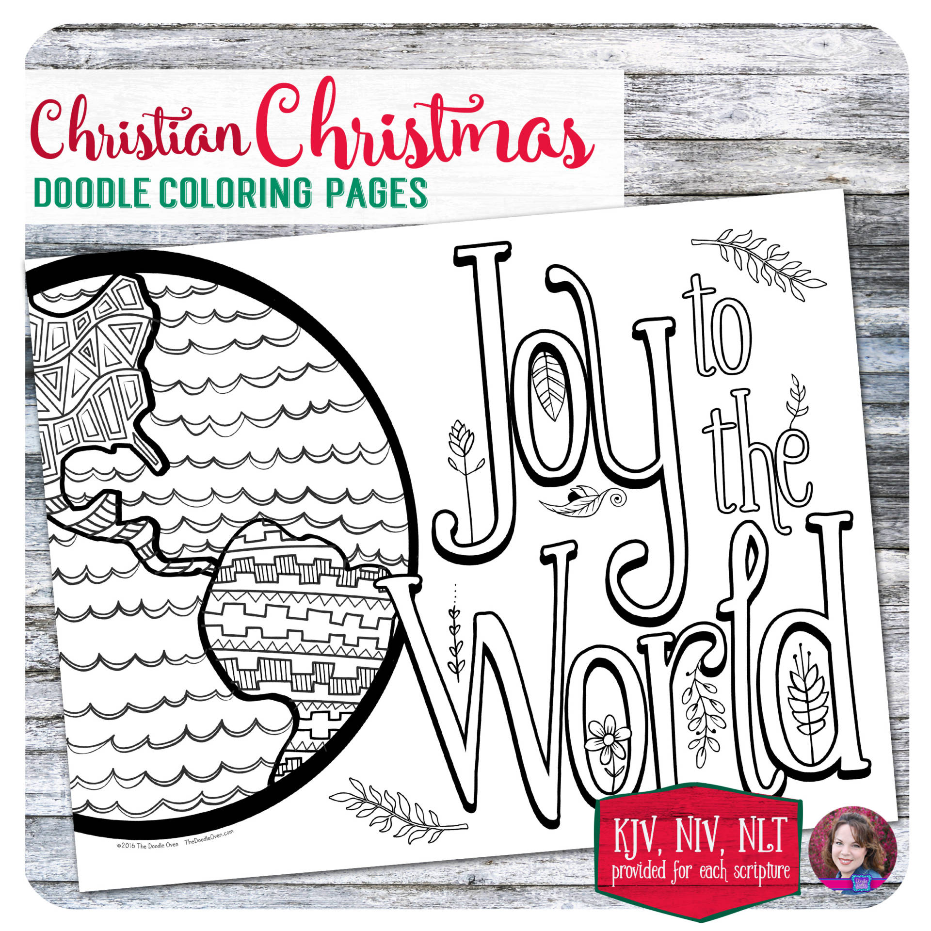 Christian Christmas Doodle Coloring Pages 6 Designs