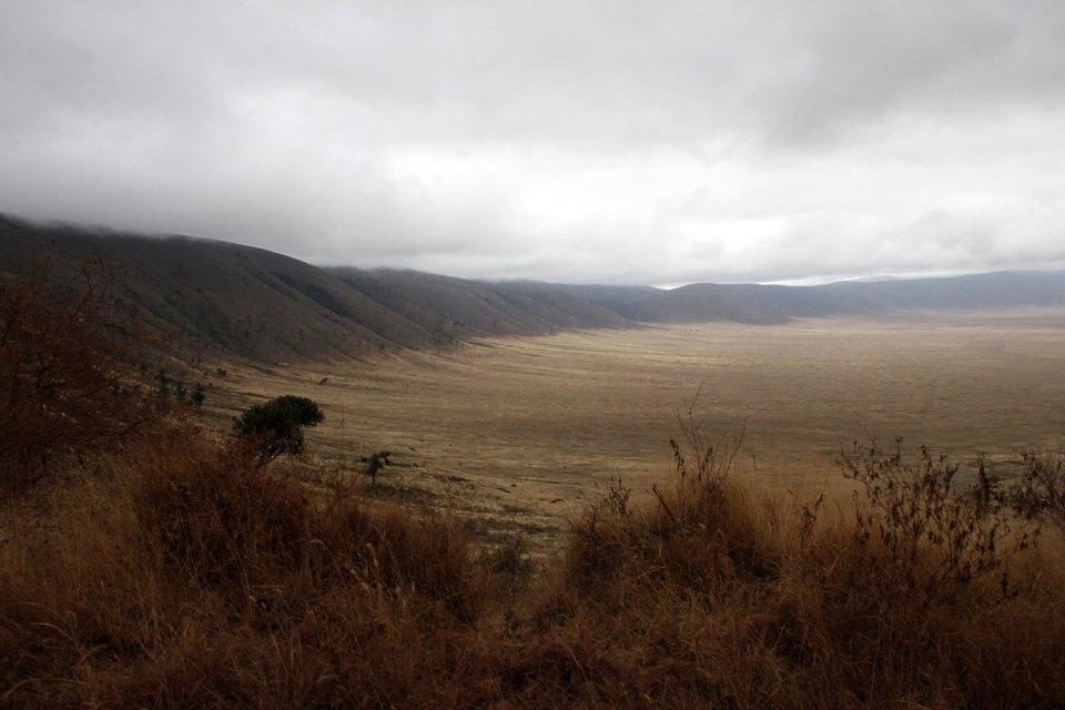 Blick am Rand des Ngorongoro Kraters entlang