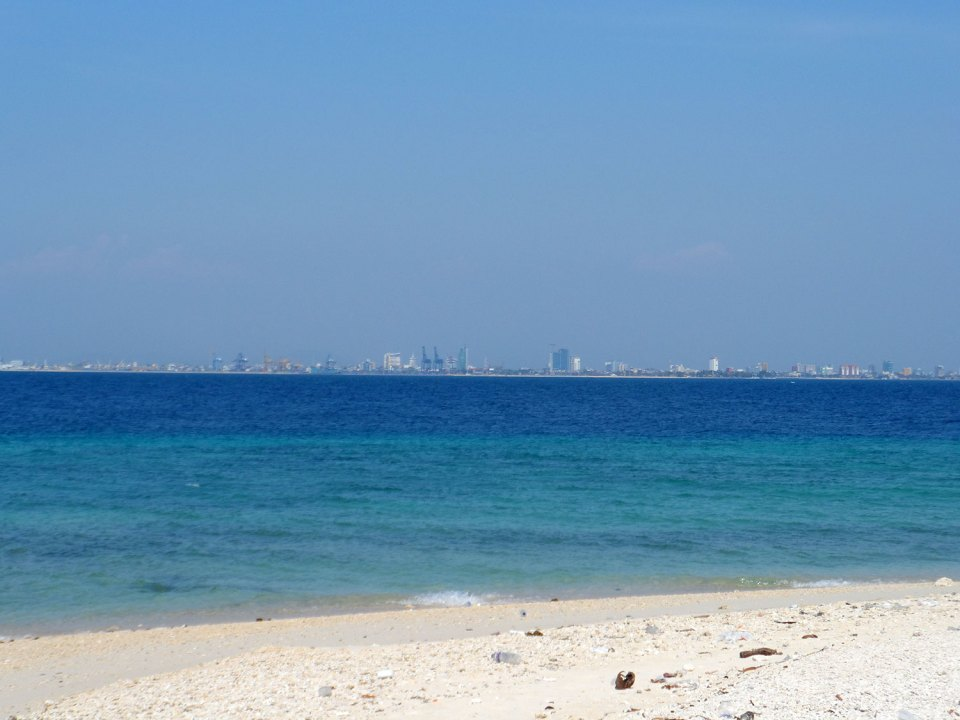 View from Samalona Island to the Port of Makassar, Sulawesi