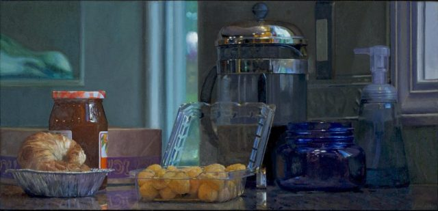 """Breakfast With Golden Raspberries, oil on linen, 22"""" x 46"""""""