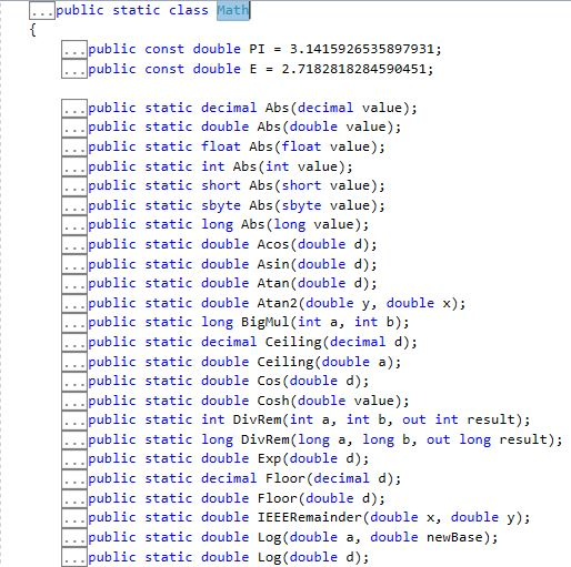 Math Static Class OutPut 1.1