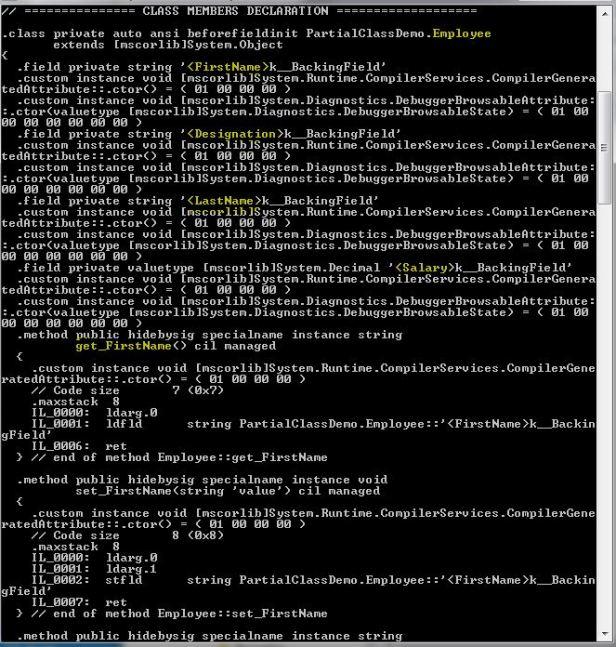 Partial Class OutPut 1.1
