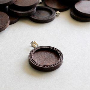 Dark Wood Dot Pendant