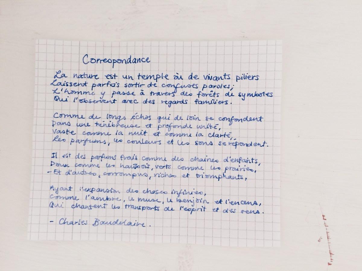 correspondance poem