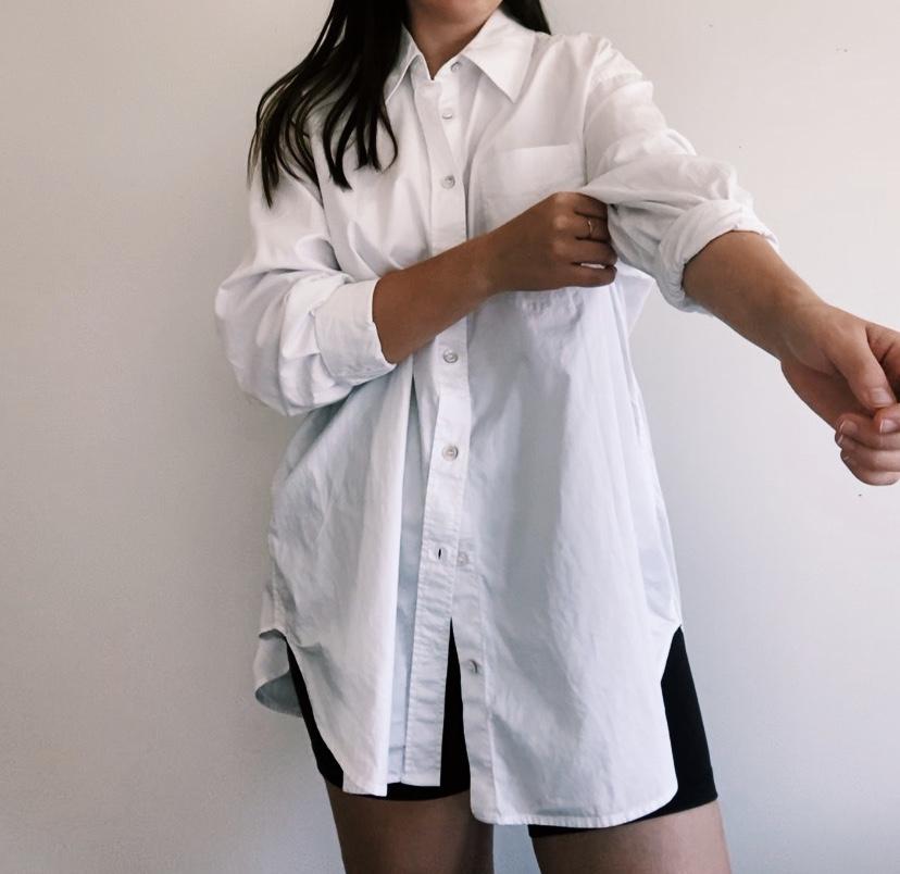 OversizePearl Button Cotton Shirt