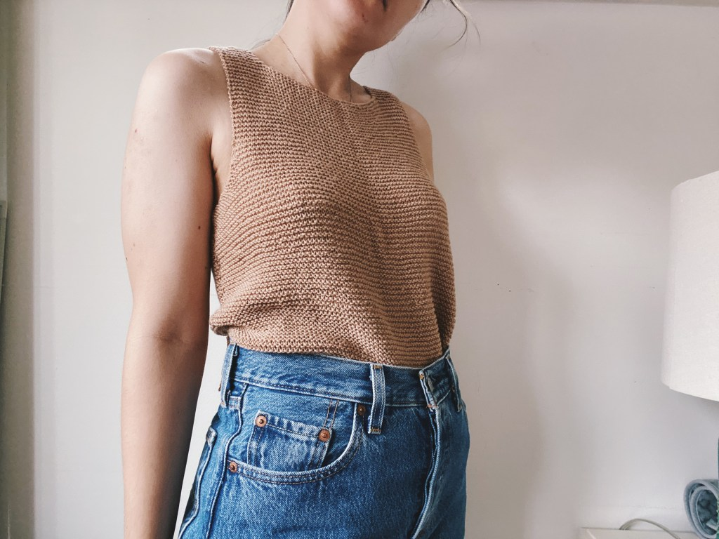 modern knit sleeveless neutral top