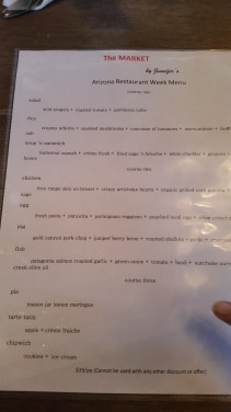 Restaurant Week menu with Ann's finger