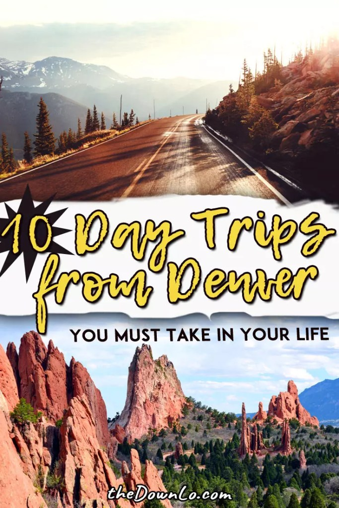 The best day trips from Denver, Colorado to have on your bucket lists with kids. Fun things to do in the Rocky Mountains, Red Rocks, surrounding cities like Boulder and Colorado Springs, and the national parks in winter and summer. Pack the car and make it a road trip for hiking, photography, nature and scenery! This is USA travel and vacation goals with what to do in pictures and Instagram spots. #colorado #denver #roadtrips