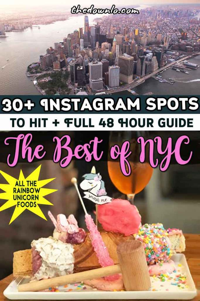 Instagram desserts NYC: The best photo and picture spots for food. Rainbow restaurants and iconic New York City attractions like the vessel, top of the rock, dumbo, and oculus. A two day weekend itinerary every traveler must see. A travel photography guide with bucket lists of things to do in Manhattan, Brooklyn and beyond. Plan your photoshoot with this map, photo ideas and guide. #newyork #nyc #iloveny #travel #food #instagram #usa #eat #rainbowfood #foods #photos