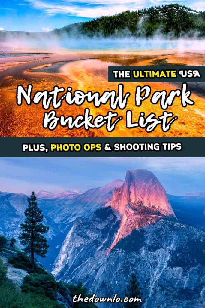 A United States National Park Bucket List and Check List for photography and adventure. Road trip to the best of the USA with landscape pictures and natural wonders to inspire visits to Utah, California, Arizona, Colorado and beyond. Hit Yellowstone, Zion, Arches, Badlands, Grand Canyon, and Rocky Mountain for the best of the west. #roadtrips #nationalparks #america