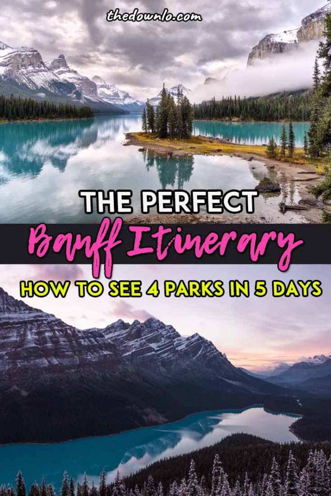 5 Day Banff Itinerary with map: A road trip through the Canadian Rockies for things to do this spring, summer or fall to see waterfalls, lakes, parks, and mountains. Drive from Calgary to Lake Louise, Lake Moraine, Jasper National Park, Johnston Canyon Cave, and of course, Banff National Park for things to do like glacier hiking, landscape photography, camping and hikes. Adventure pictures and photography spots to inspire travel. #roadtrip #canada #banff #travel #alberta #itinerary