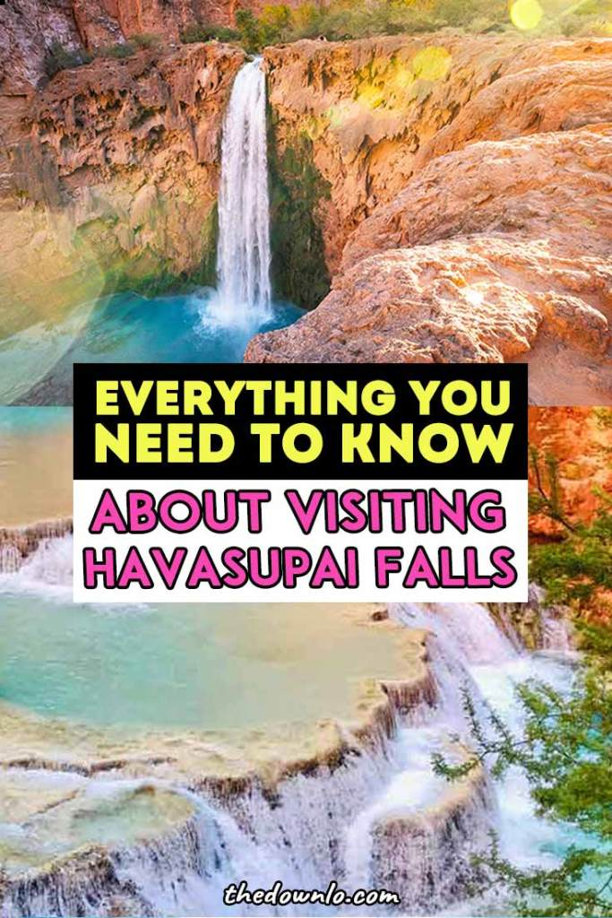 Havasupai Falls, Arizona bucket list trip. Hiking tips, packing list, camping, backpacking, lodge, and photography info. How to score a permit, where in the campground to go, photo tips, waterfall pictures, and helpful info about the helicopter, food clothes to bring, and trail map for these epic Grand Canyon waterfalls. #pics #havasupaifalls #havasupai #havasu #waterfalls #arizona #grandcanyon  #waterfall #hiking #havasufalls