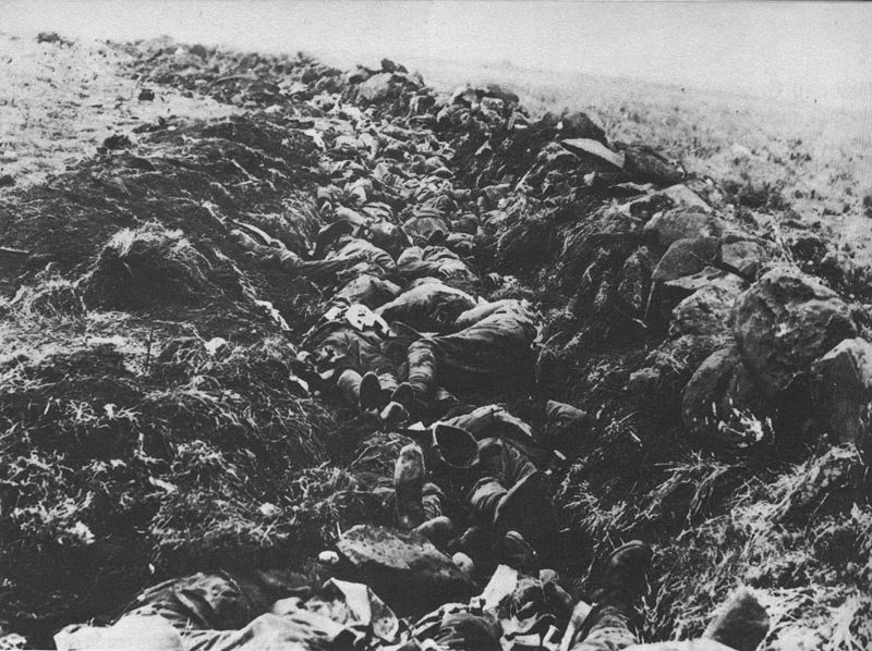 """The terrible extent of the British casualties at the Battle of Spionkop. """"The acre of massacre""""."""