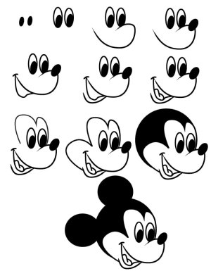 mickey mouse drawing step draw cartoon characters disney simple thedrawbot micky steps minnie face head facile swag dessin et mick