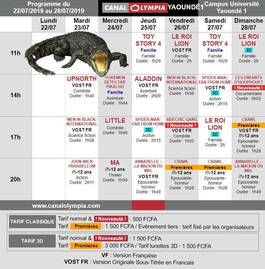 Programme canal olympia de la semaine