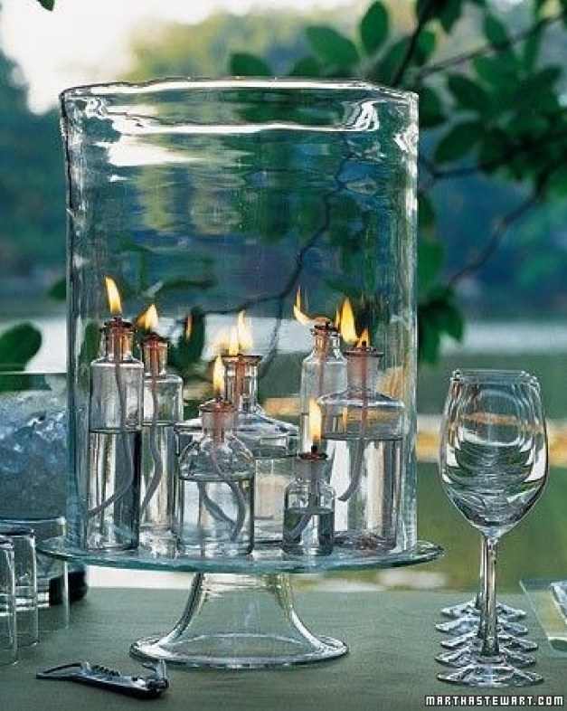 I'm Loving...Glass on Glass centerpieces