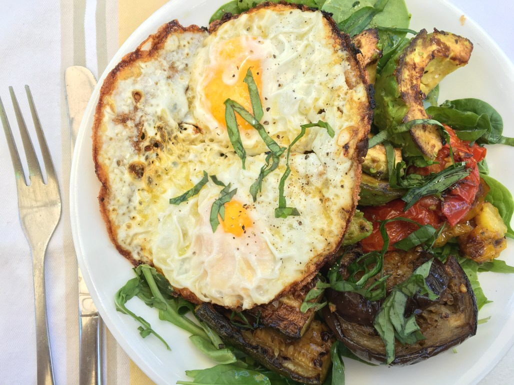 Grilled Vegetable Salad with a Fried Egg