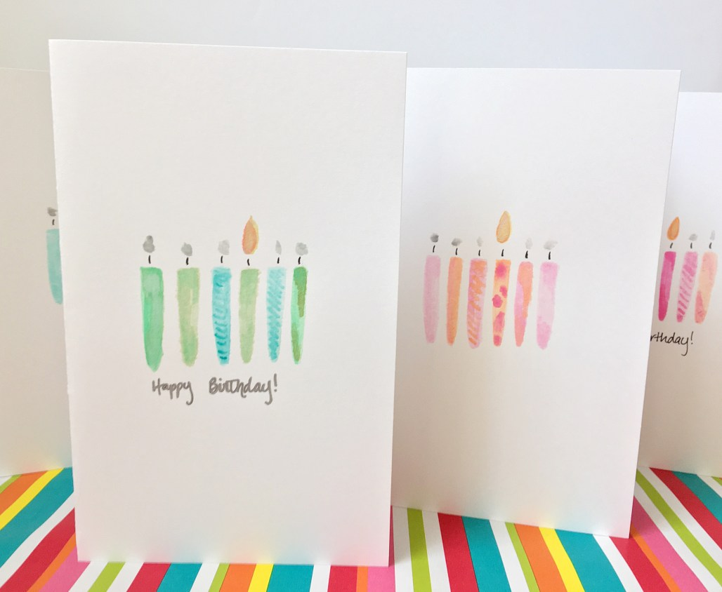 DIY Watercolor Birthday Candle Cards