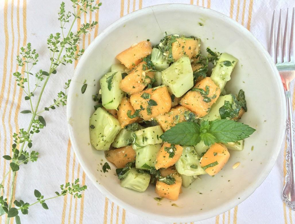 Melon Cucumber + Mint Salad