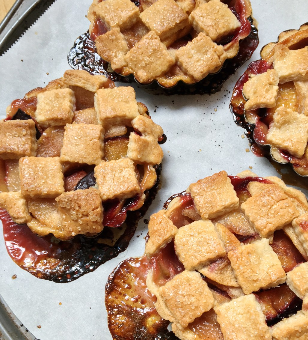 Caramel Apple + Plum Individual Pies with Sugar Cookie Crust