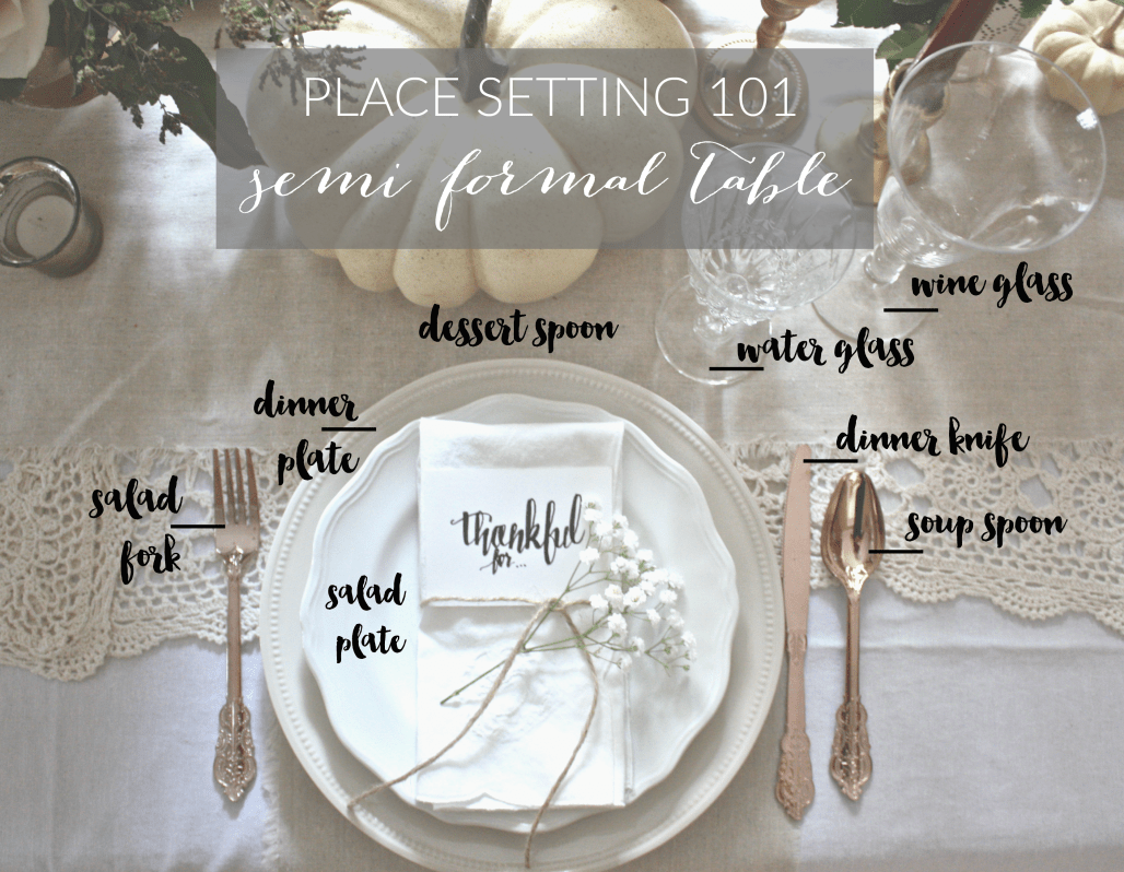 Place Setting 101 Semi Formal Table