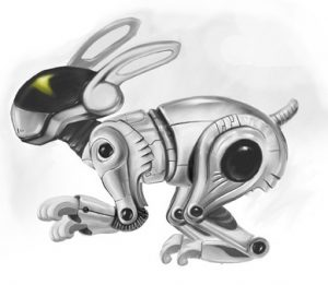 An actual robotic rabbit, used for composting and companionship
