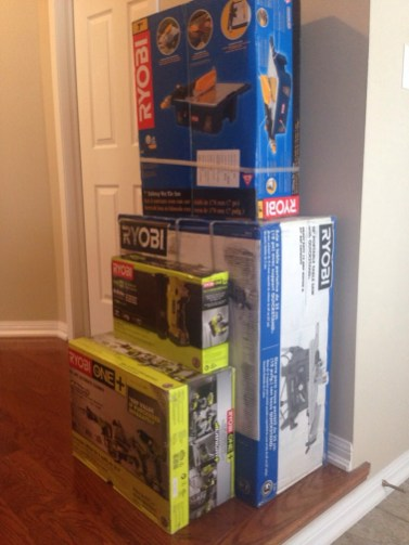Stocked up with Ryobi tools! Table & wet tile saws, cordless brad nailer & the Lithium+ 6 pc Ultimate Combo Kit