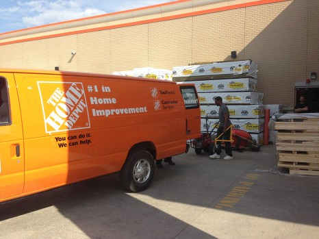Loading up the van with scaffolding at Home Depot