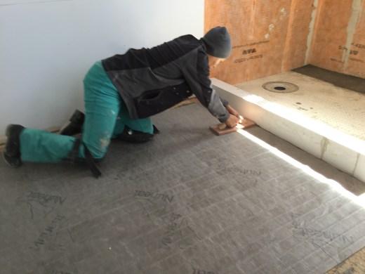 installing our NuHeat in-floor heating system