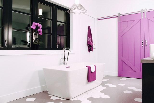 Hex tiled focal point surrounds Loft freestanding tub - Master Bath Retreat   The Dreamhouse Project