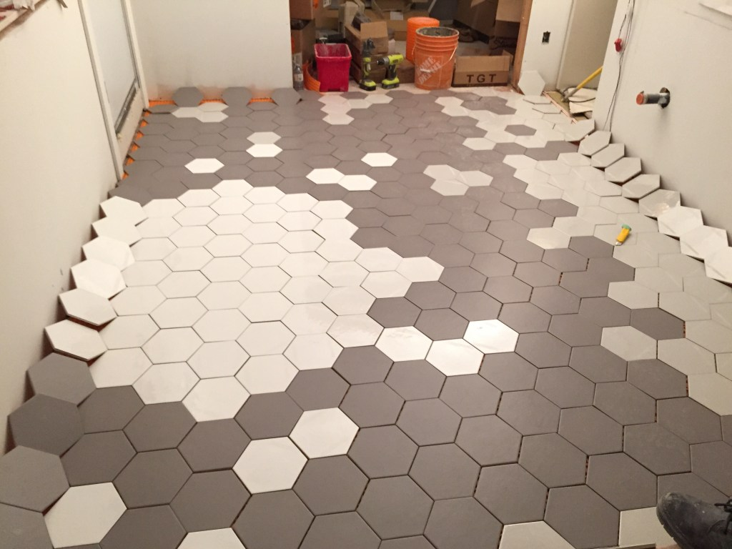 Dry fit tiles to test out the pattern