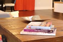 Closeup of rustic industrial coffee table