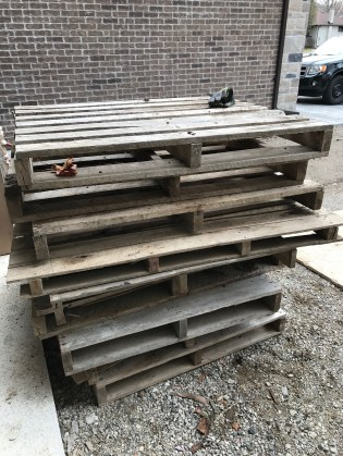 Pallets waiting to be broken down